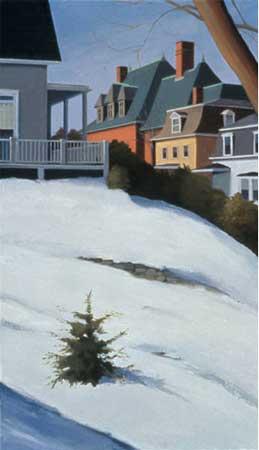 "Maple Street,  oil on canvas, 35"" x 20""  $3200"