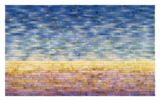 "Color Bands, Delphinium and Hydrangea,  giclee print of original collage of hydrangea and delphinium petals, 12¾"" x 12¾""  $300"