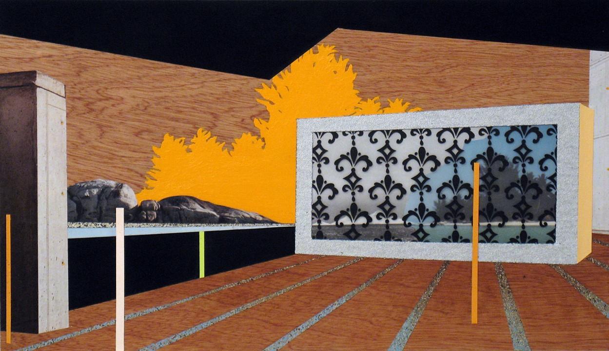 "Tropi-Cali  ,  acrylic, acryla-gouache, acetate, collage, and spray paint on wood panel, 11"" x 19"", $650"
