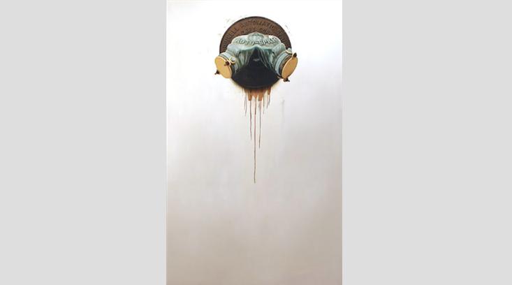 "Siamese #2 ,oil on MDF panel, 60"" x 36""$4,000"