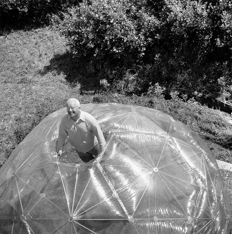 Havel Laarsen Archer,  Buckminster Fuller Inside His Geodesic Dome  (1949)