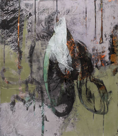 0837 Untitled , Dorothea Van Camp, screen print, oil, wax on canvas