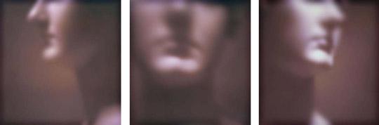 "Fascia: Left, Front, Right  triptych, Jeffrey Heyne, digital print on dibond, 30"" x 31"" each"