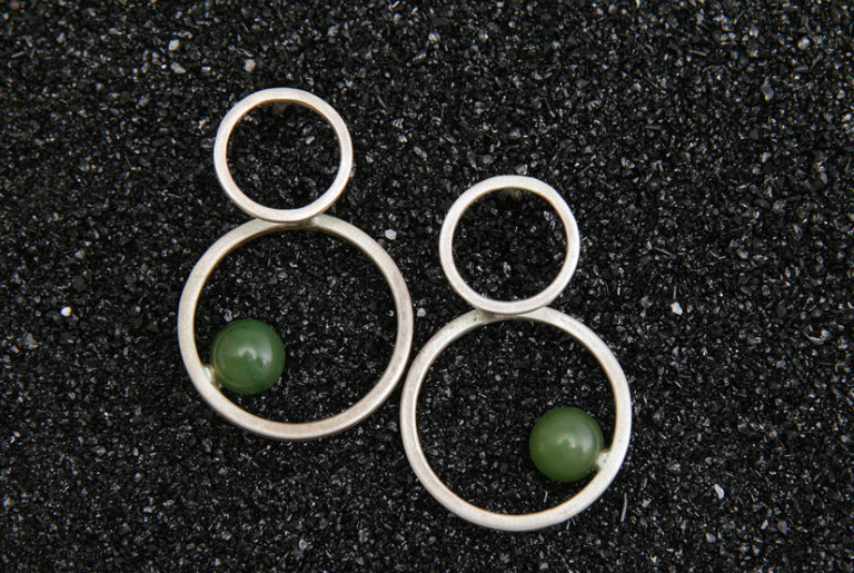 Double circle earrings, sterling sliver, green onyx, other stones available