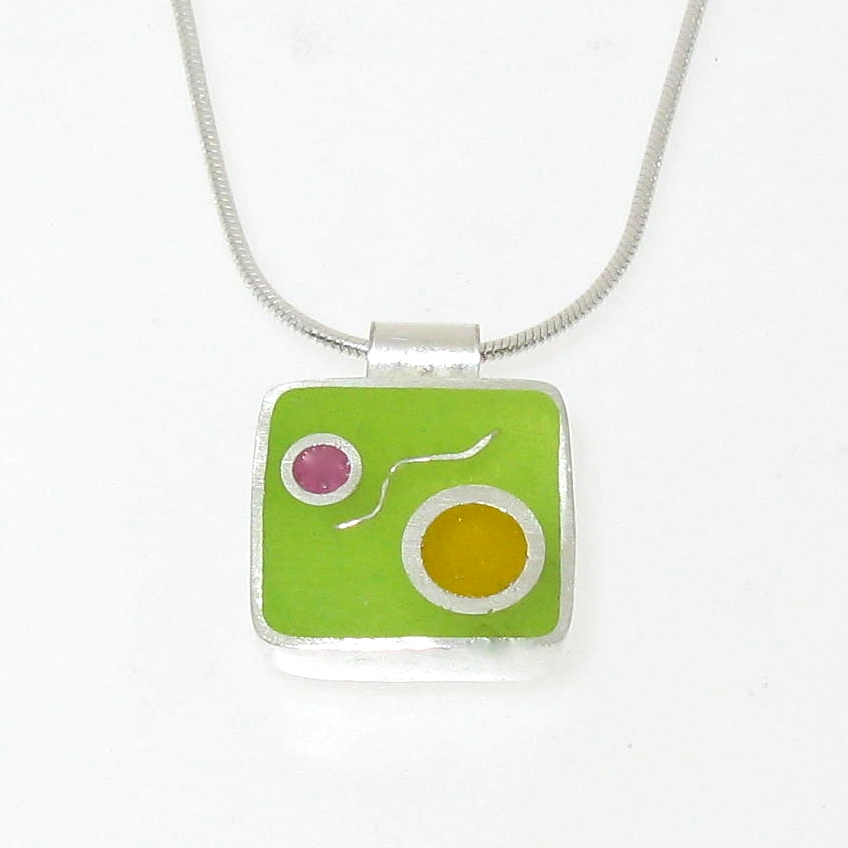 Square pendant necklace , sterling silver with resin inlay in various colors, $80