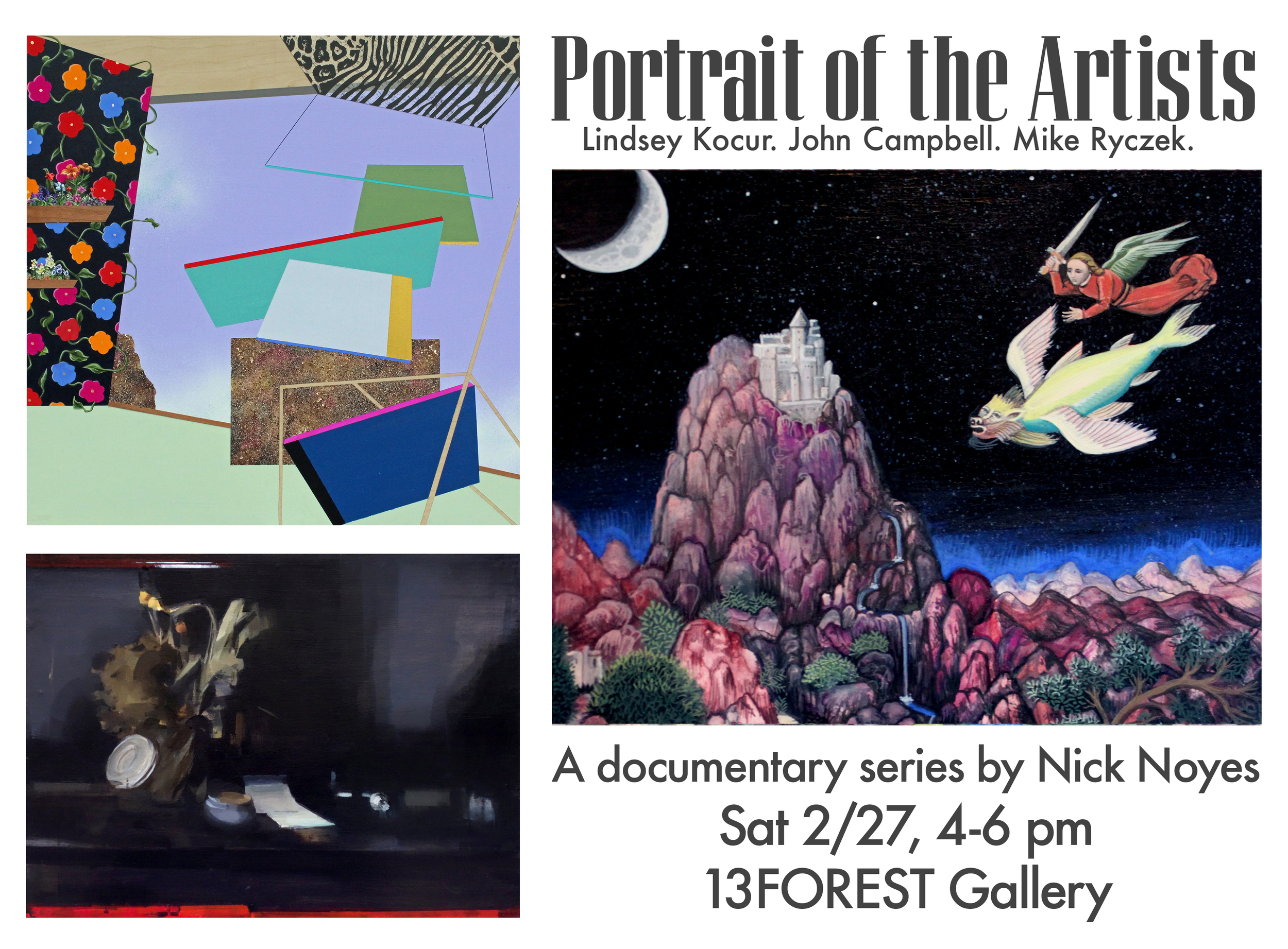 Clockwise from top left: Lindsey Kocur,  Instant #6 ; John Campbell,  The Greater Struggle  (detail); Mike Ryczek,  Gestalt_3