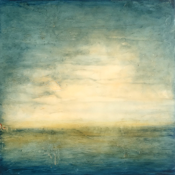 "Lakefront,   encaustic on board, 13"" x 13"" framed , sold"