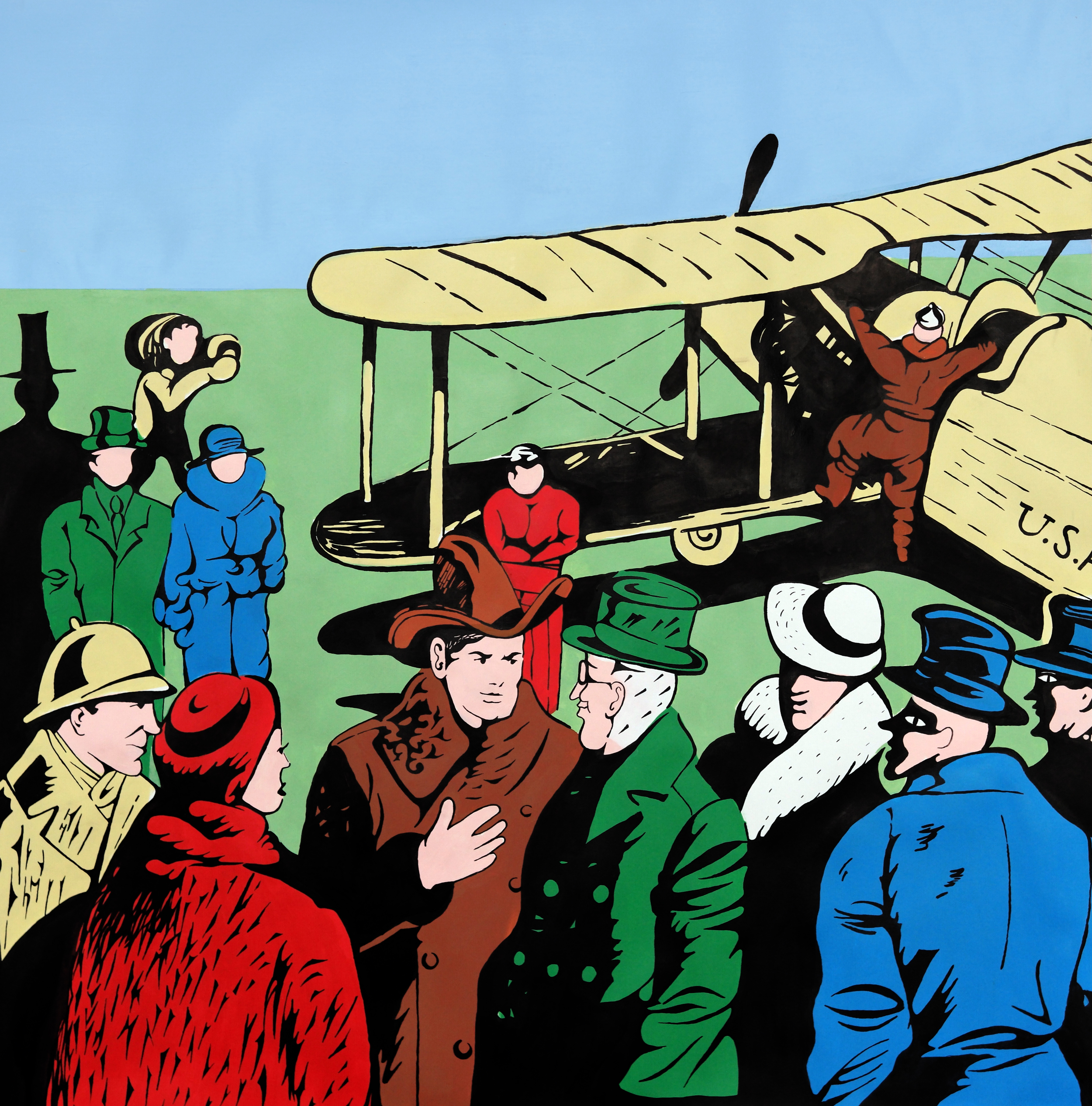 """Daniel Benayun,  Airplane Tour , ink, gouache and acrylic on paper, 35 1/4"""" x 34 1/4"""" framed, sold"""