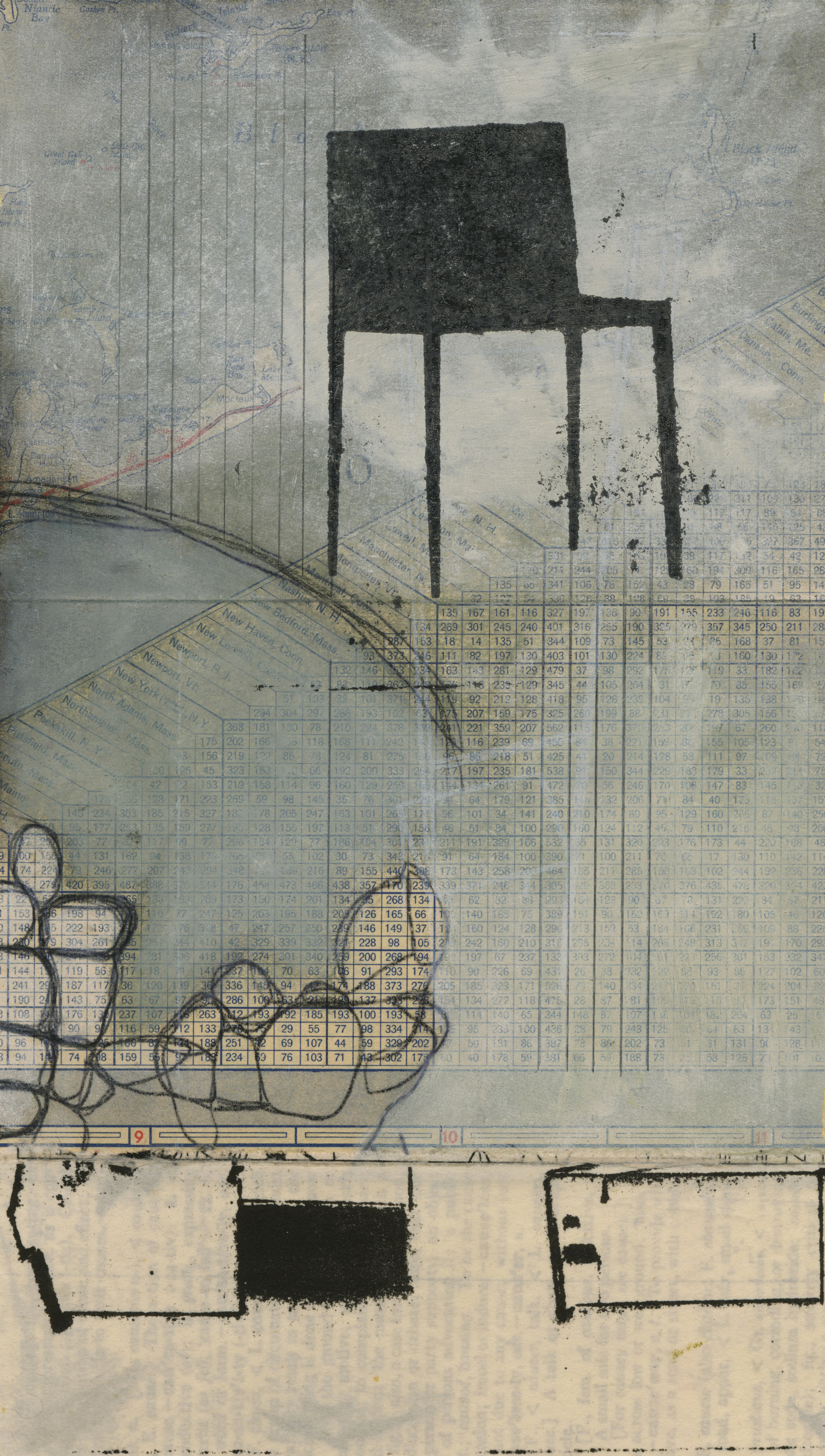 """Nina Wishnok, Where is What #2 , monotype collage, chine-collé on paper, 16 3/4"""" x 15"""" framed , $700"""