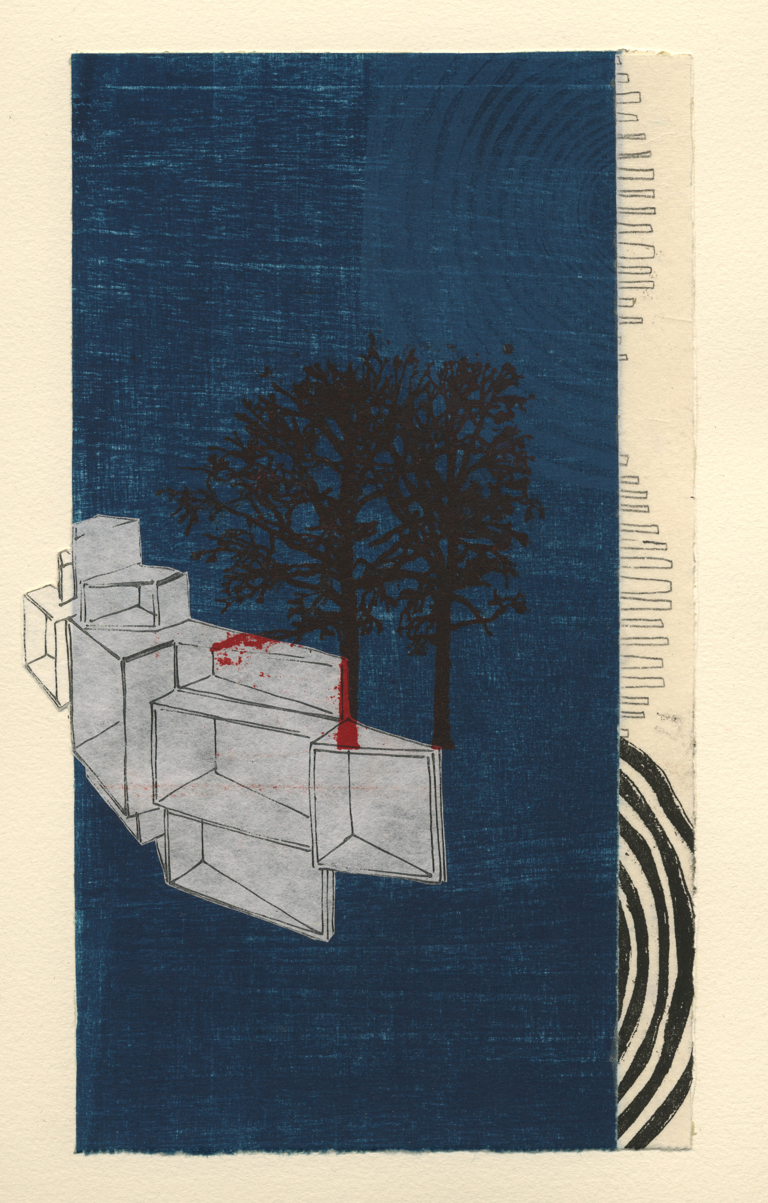 """Nina Wishnok, Where is What #3 , monotype collage, chine-collé on paper, 16 3/4"""" x 15"""" framed , $700"""