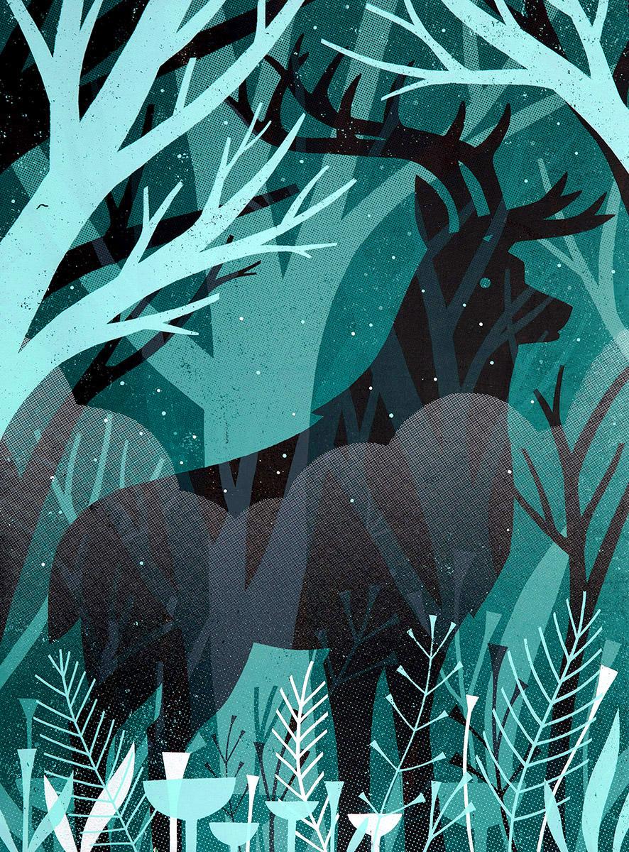 "James Weinberg,  Elk (1/3) , silkscreen on panel, 24"" x 18"", $500"