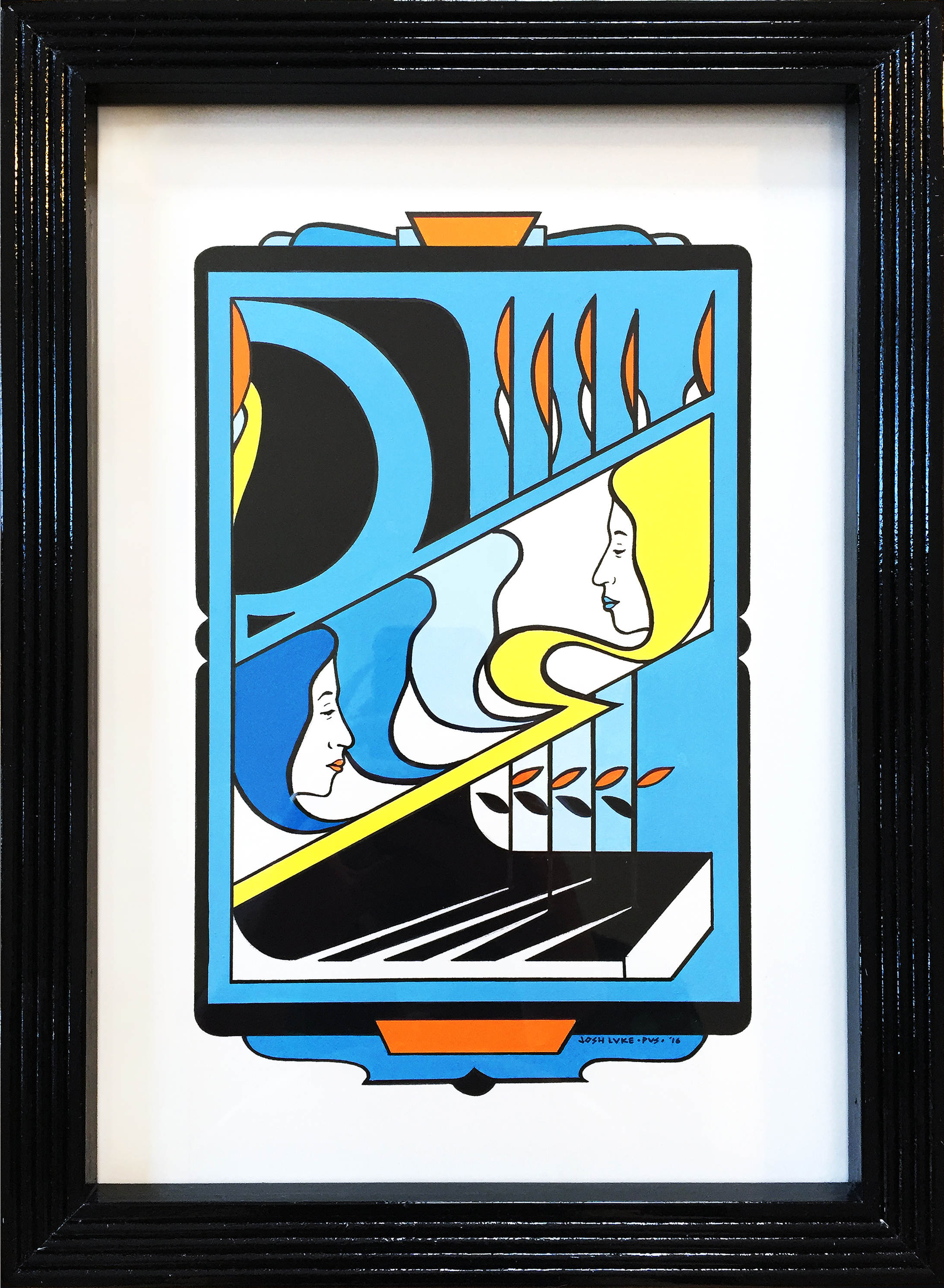 """Josh Luke,  Yellow Book #3 , gouache and marker on watercolor paper with wood frame handmade by artist, 15"""" x 11"""", $750"""