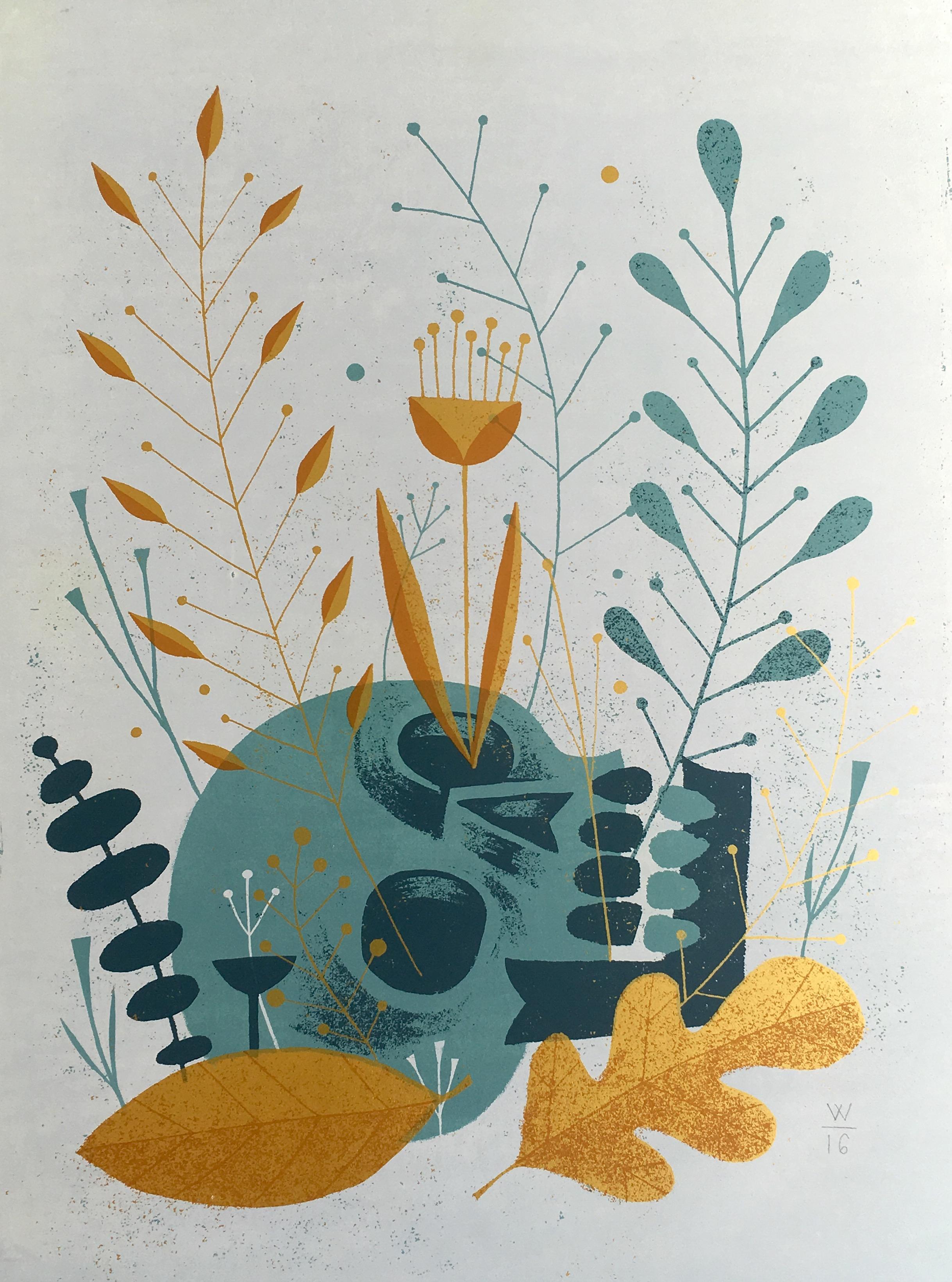 "James Weinberg,  Spring Skull (1/2) , silkscreen on panel, 24"" x 18"", $500"