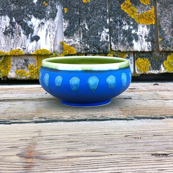 Cobalt and green bowl , porcelain, $38