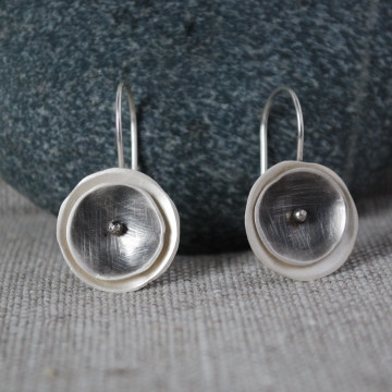 Eclipse  earrings, fine silver with sterling silver ear wires, $58