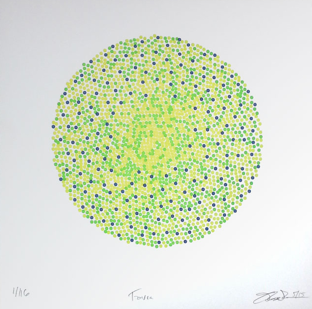 "Fovea (5/116) , three-color letterpress print on paper, 8 1/2"" x 8 1/2"" unframed, $150; 15"" x 13"" framed, $275"