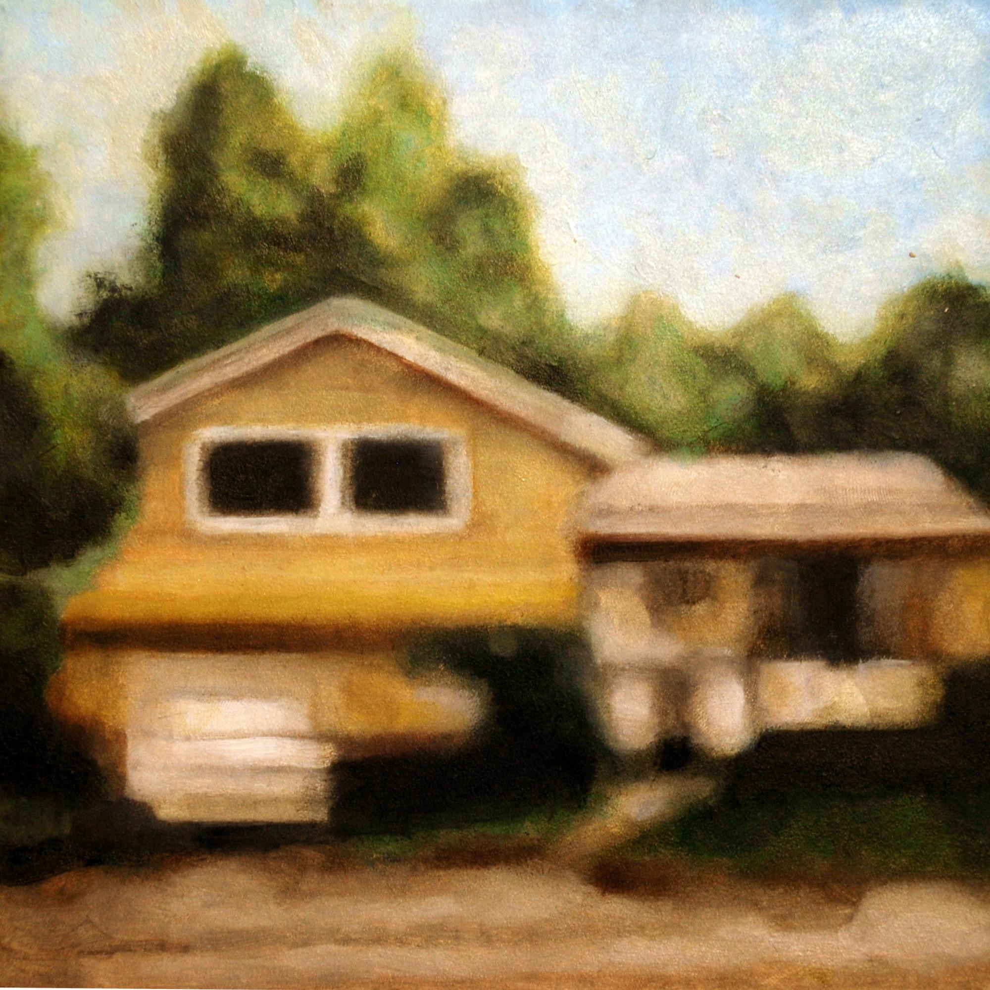 """Yellow Split Level , oil on panel, 9 3/4"""" x 9 3/4"""" framed, sold"""