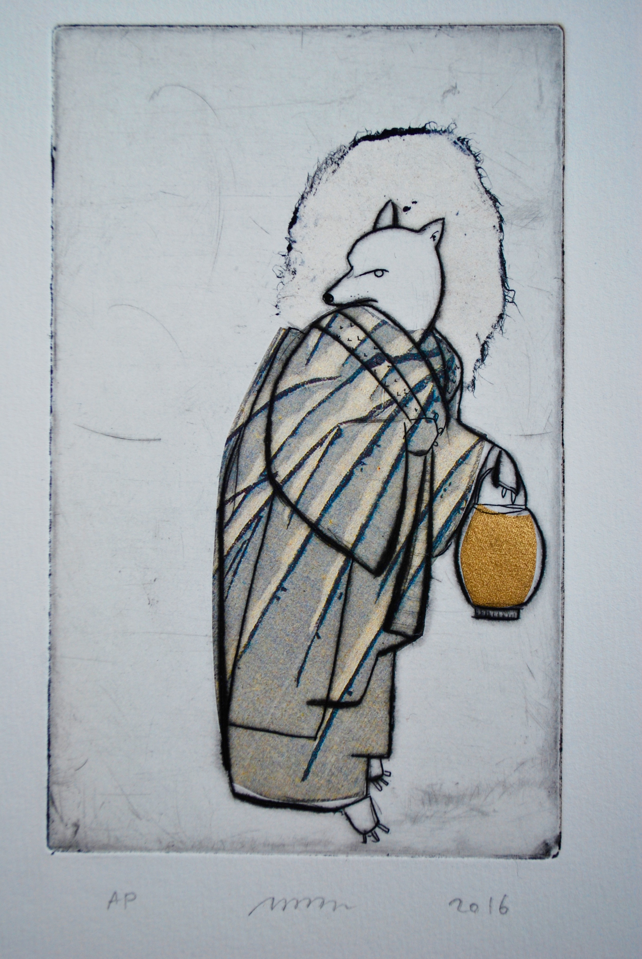 """Snowy Branch Kitsune ,etching, drypoint and chine-collé, 13"""" x 10"""" framed, $300"""