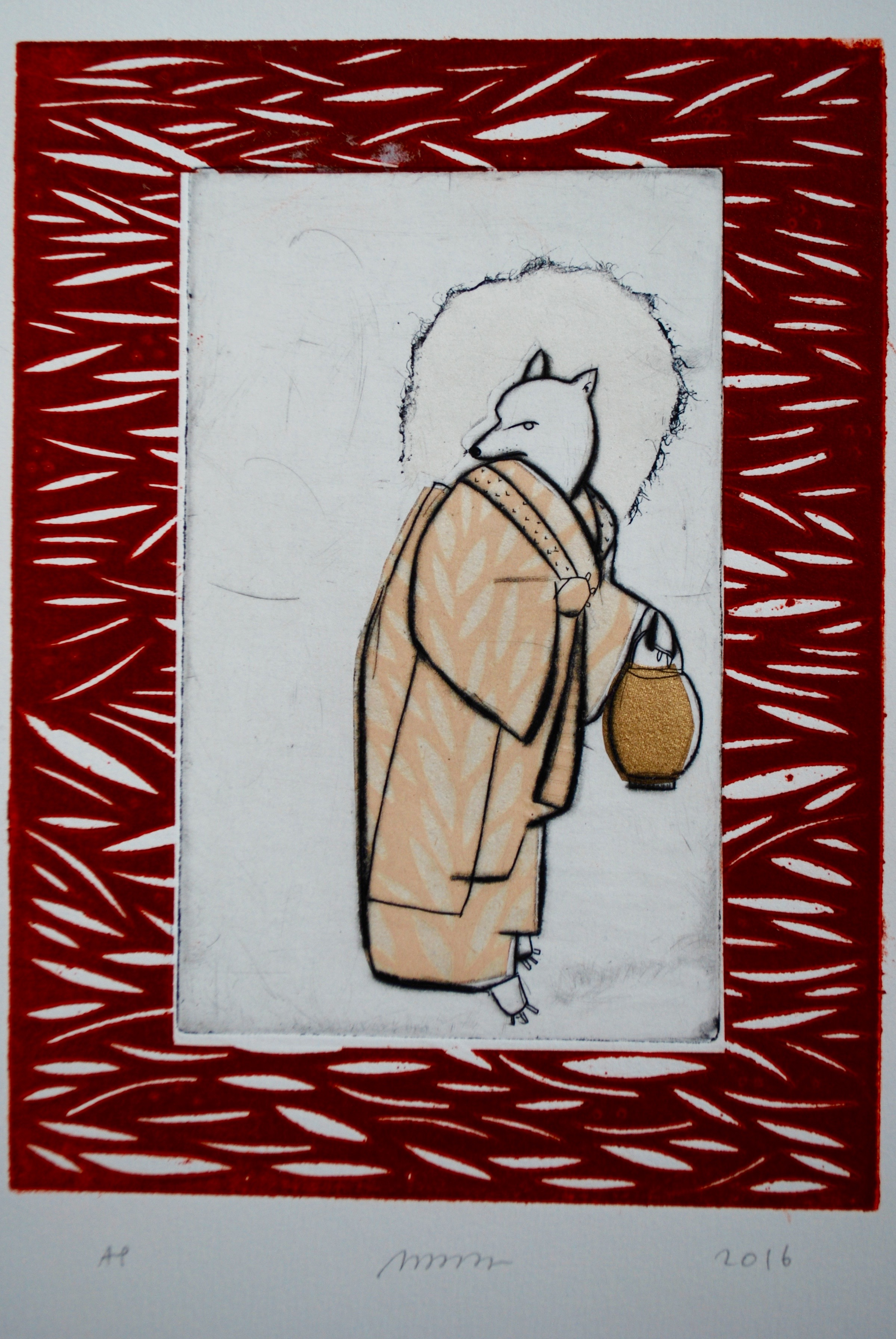 """Nancy Popper ,  Kitsune with Red Border ,etching, drypoint, chine-collé, linoleum block print, 15"""" x 12"""" framed, $375"""