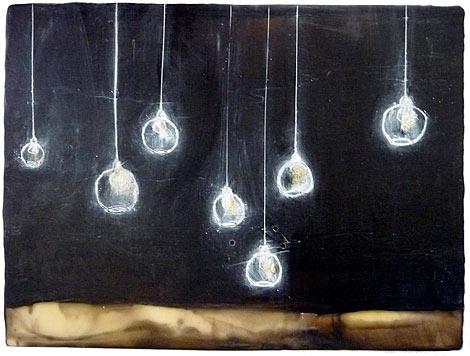 "Illuminated  ,encaustic and oil on panel, 9"" x 12"",$525"