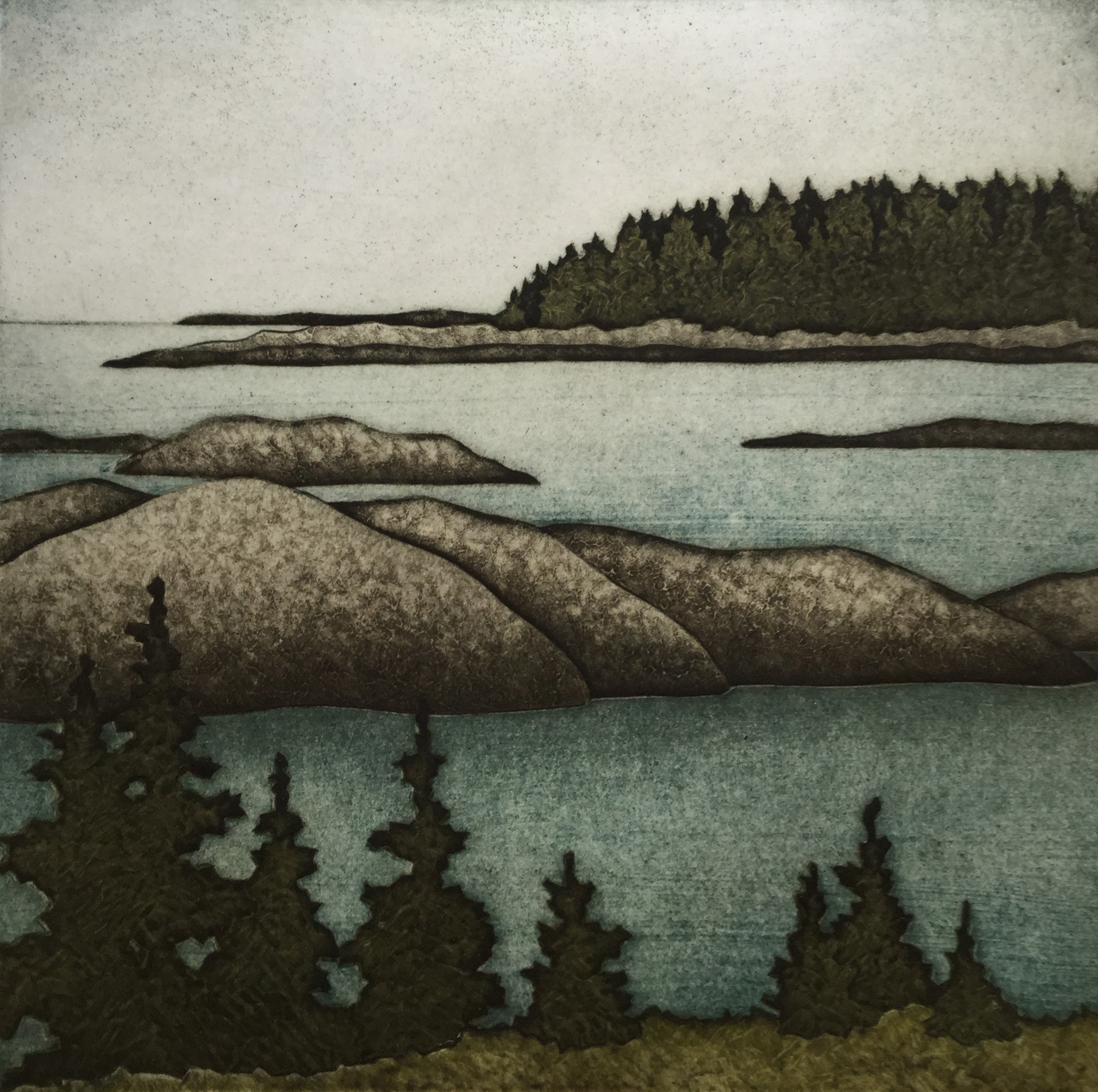 """August Afternoon (25/30) , collagraph on paper, 21 1/4"""" x 20 1/4"""" framed, sold out"""