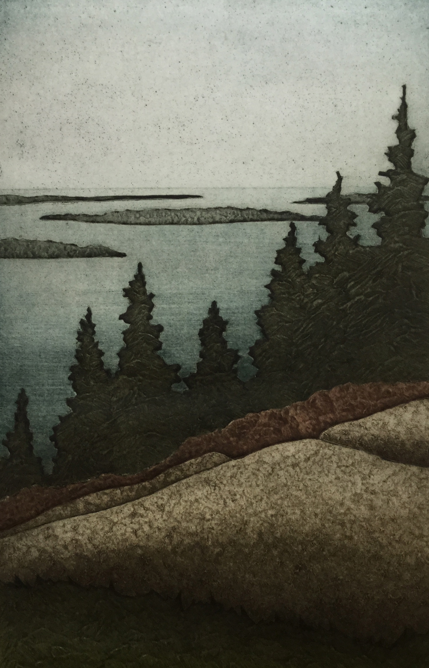 """Island View (11/30) , collagraph on paper, 18"""" x 14"""""""