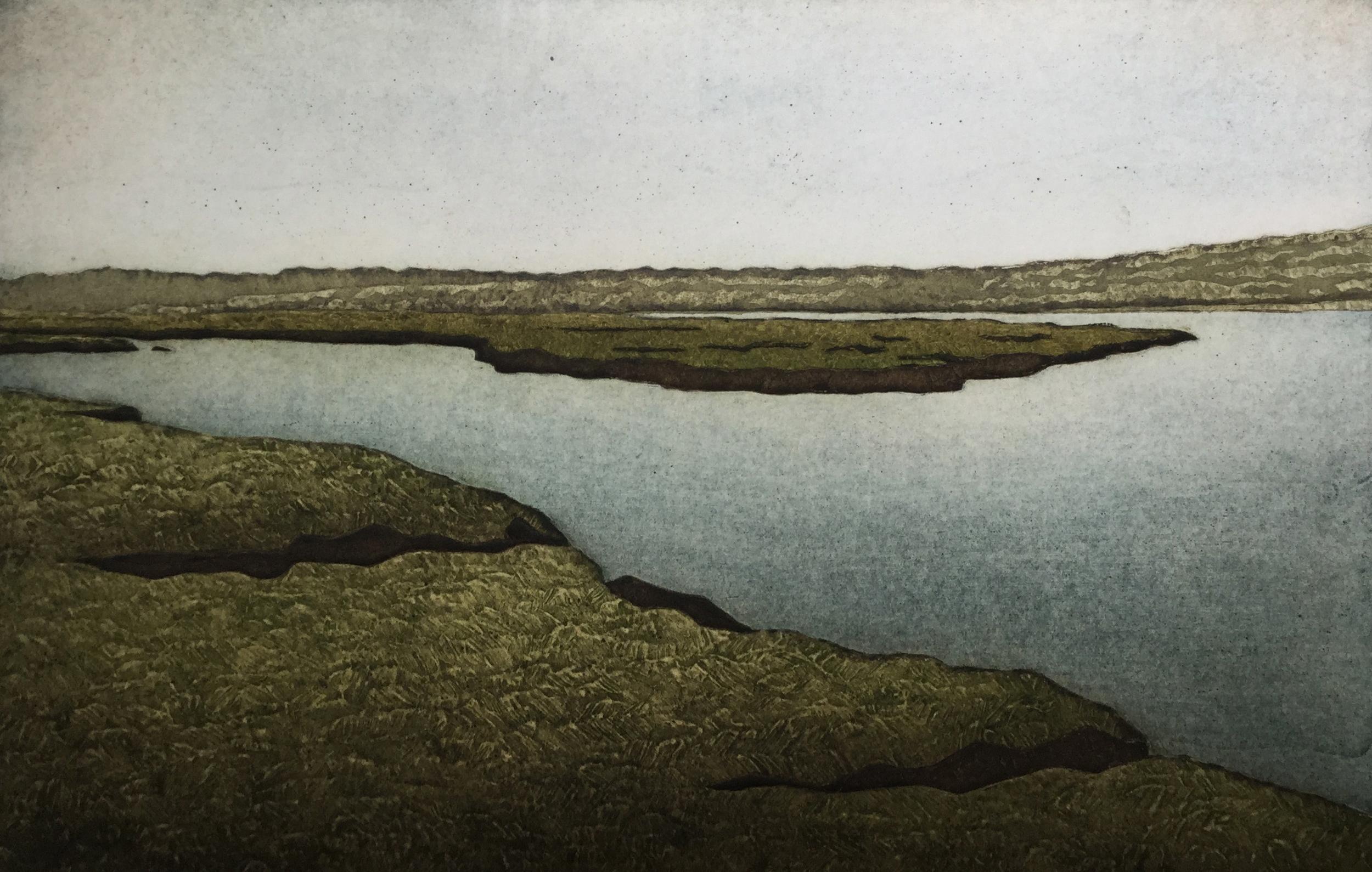 """Kathleen Buchanan ,  Lacken Salt Marsh (5/30) , collagraph on paper, 18 1/4""""x 22 1/4"""" framed, $450"""