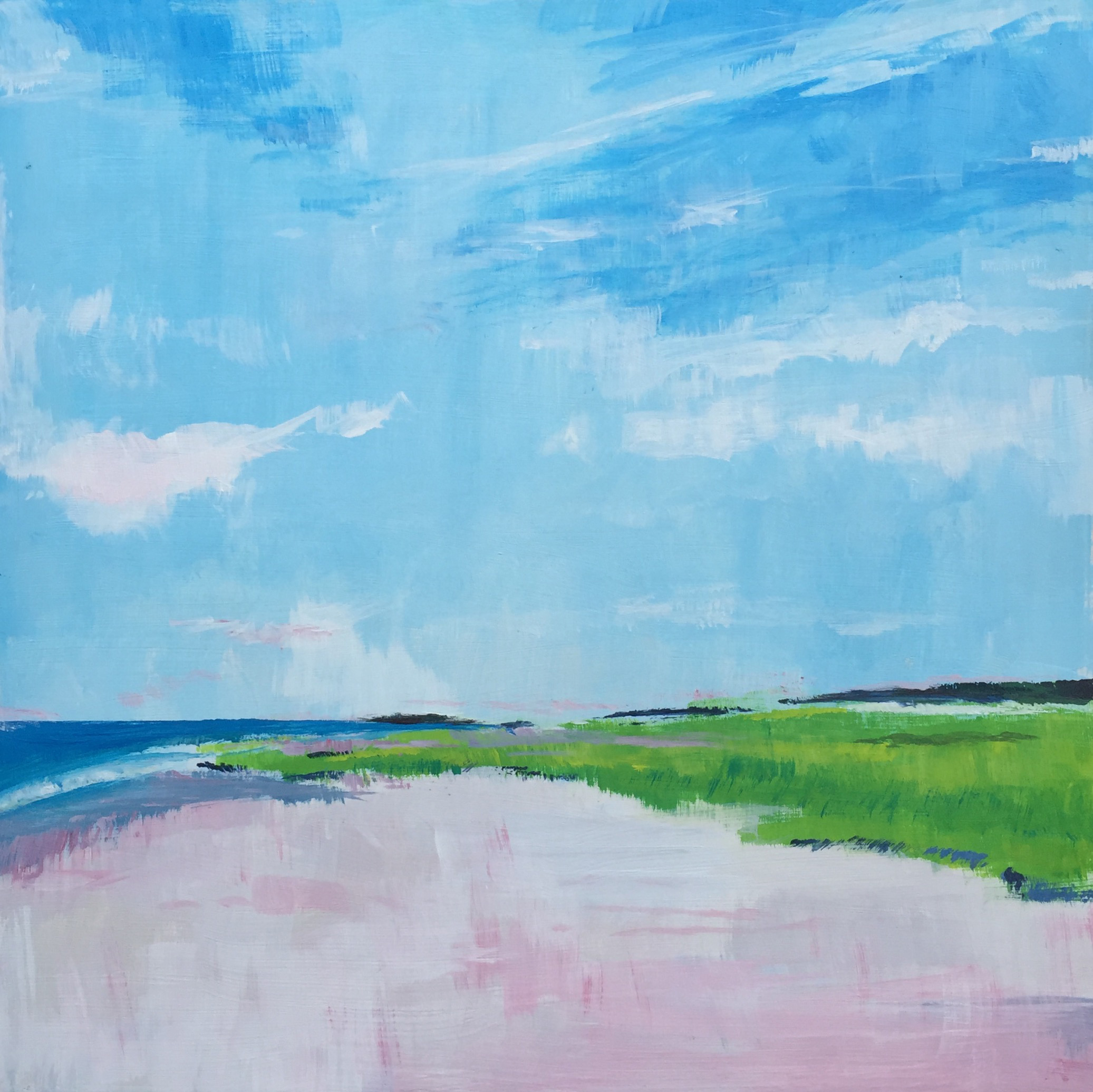 "Skaket Beach, Cape Cod , acrylic on panel, 12"" x 12"", sold"