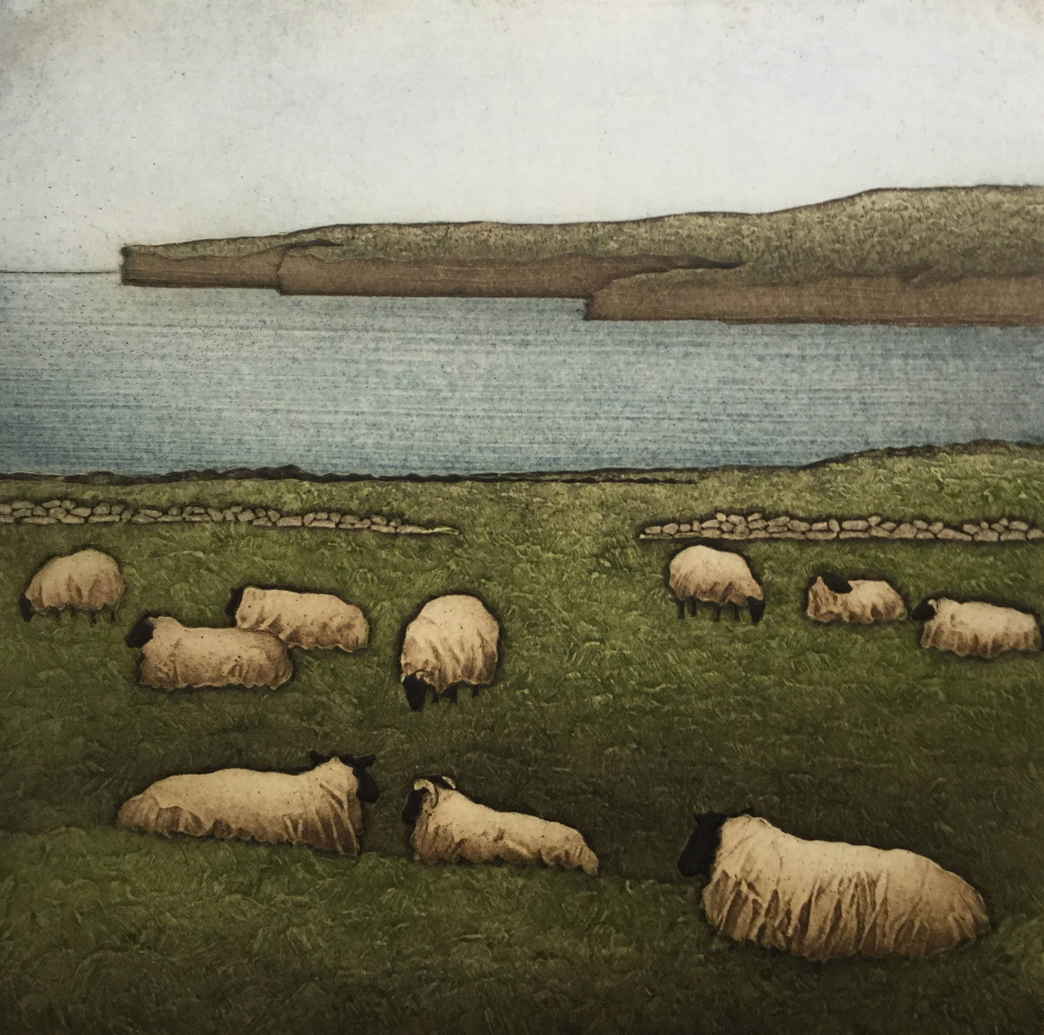 """Quiet Flock, Downpatrick Head , collagraph on paper, 21 1/4"""" x 20 1/4"""" framed"""
