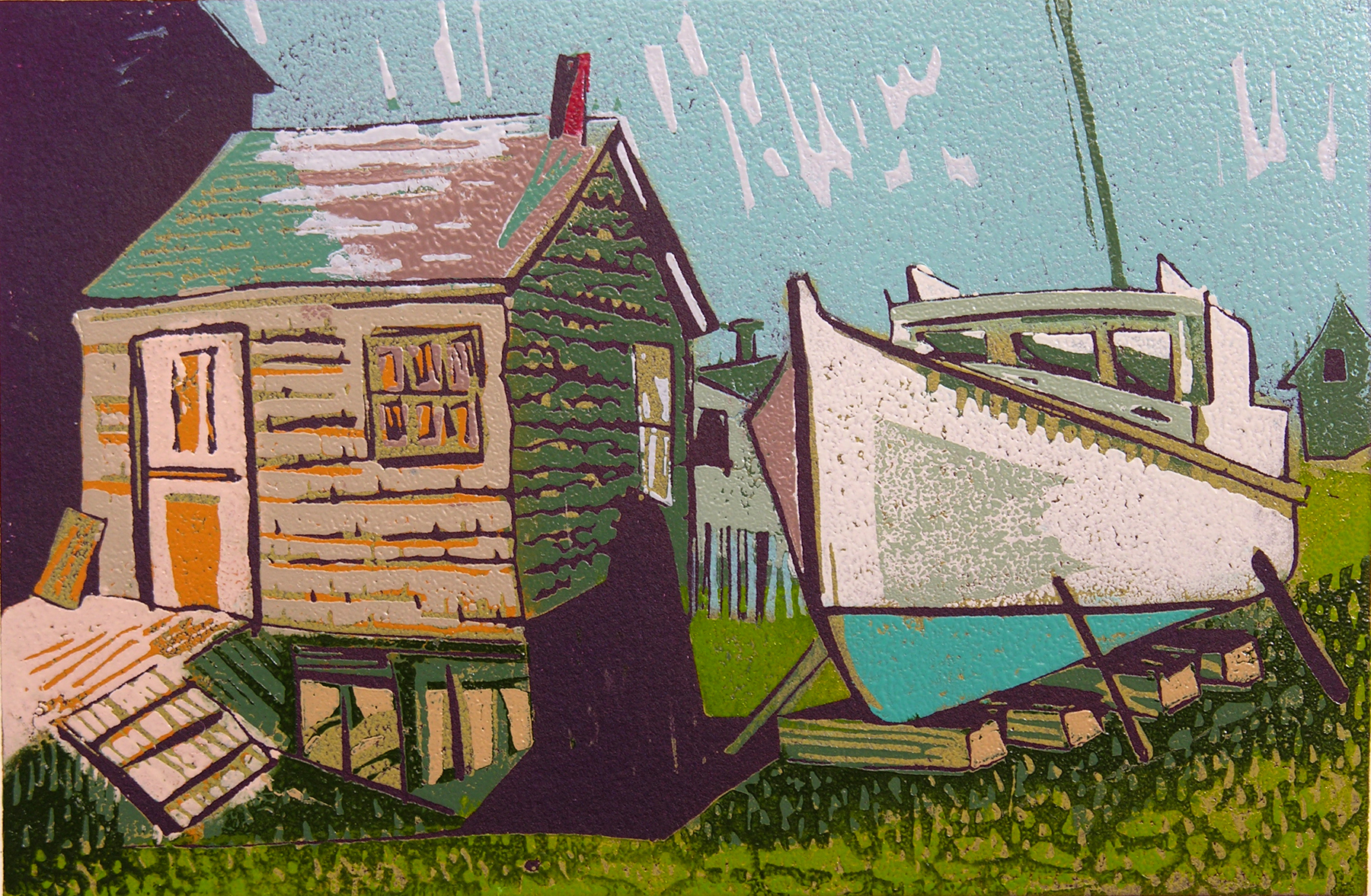 "Neighbors (8/9) , reduction linoleum print on paper, 9"" x 11"", $300"