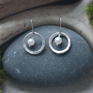 Circles and Pearls  earrings, hammered silver, freshwater pearls, $58