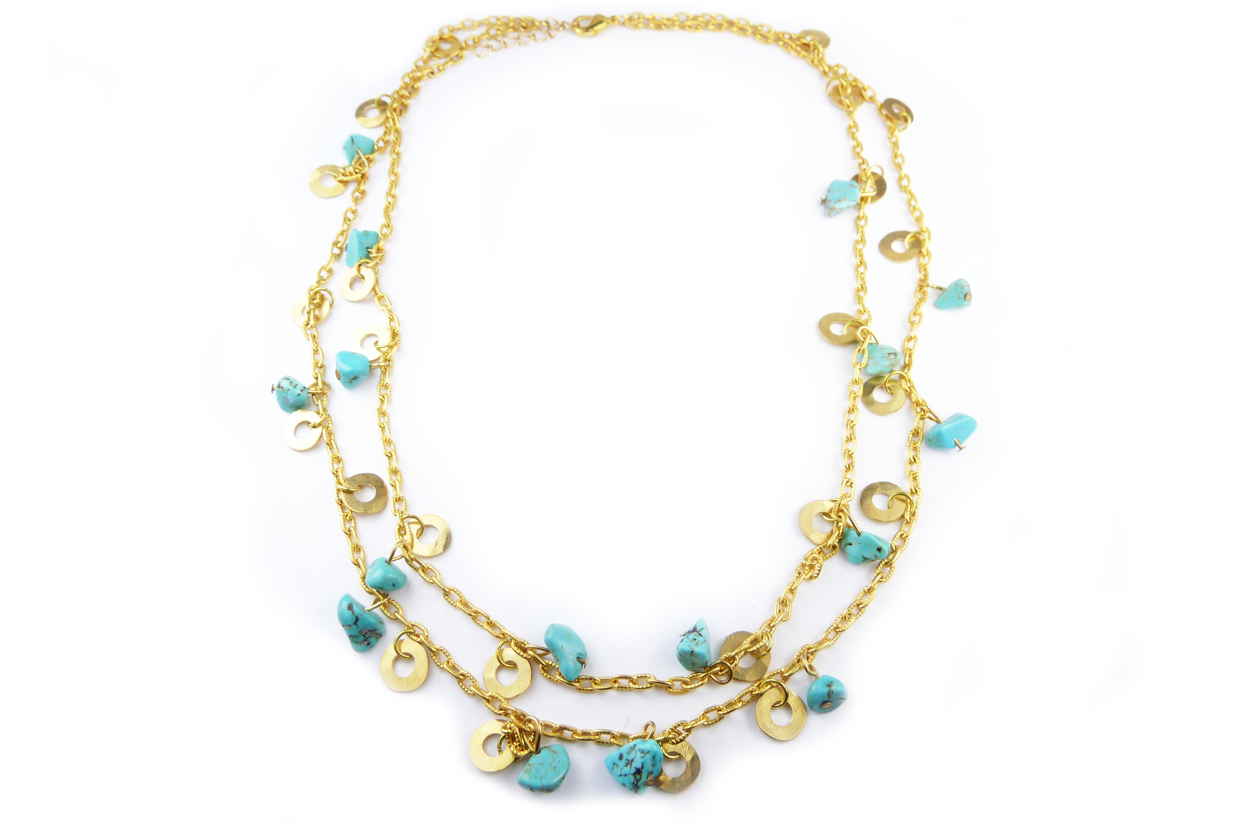 Turquoise and Washer  necklace, brass washers and turquoise pieces on gold-colored chain, $65