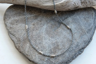 Blackened sterling silver chain with tight woven fine silver, $90