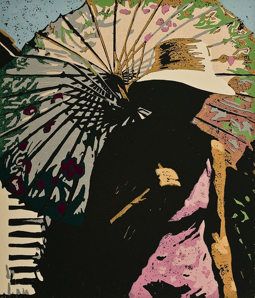 """Susan Jaworski-Stranc , In the Heat of the Day (12/15) , reduction linoleum print on paper, 18"""" x 16 1/2"""" framed, $600"""