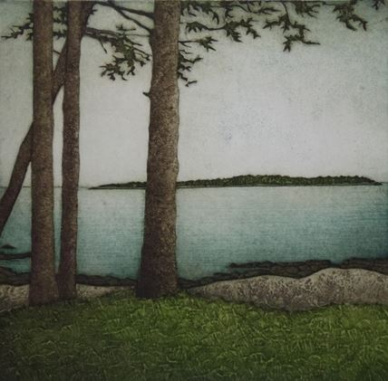 "Kathleen Buchanan , Four Spruce (29/30) , collagraph on paper, 21 1/4"" x 20 1/4"" framed, $425"