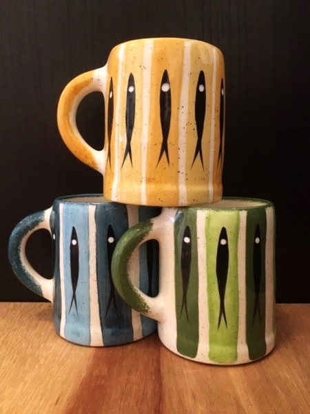 Large mugs, ceramic, traditional pattern in assorted colors, $36 each