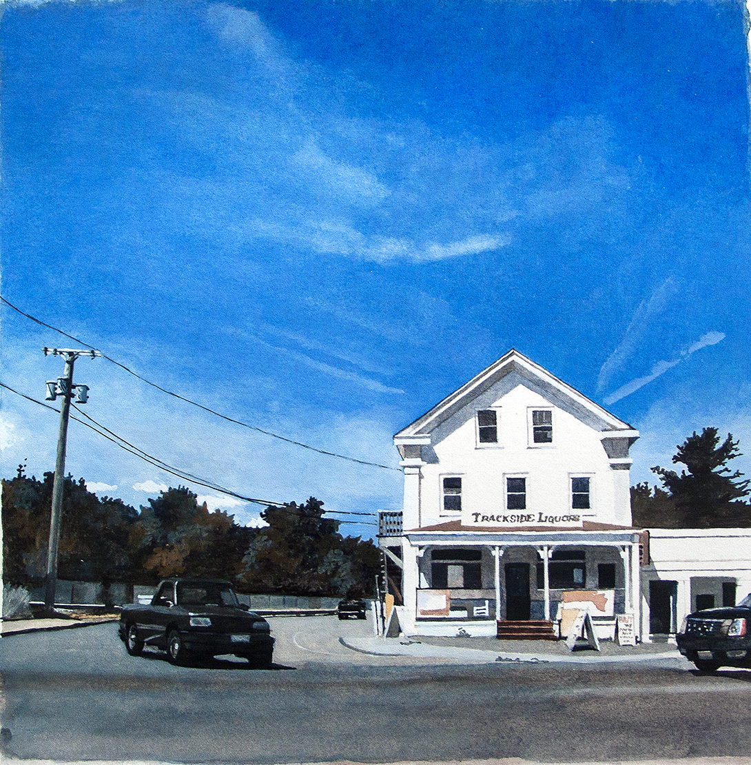 "Trackside Liquors, Kingston, Mass. , watercolor on paper, 15"" x 15"" framed"