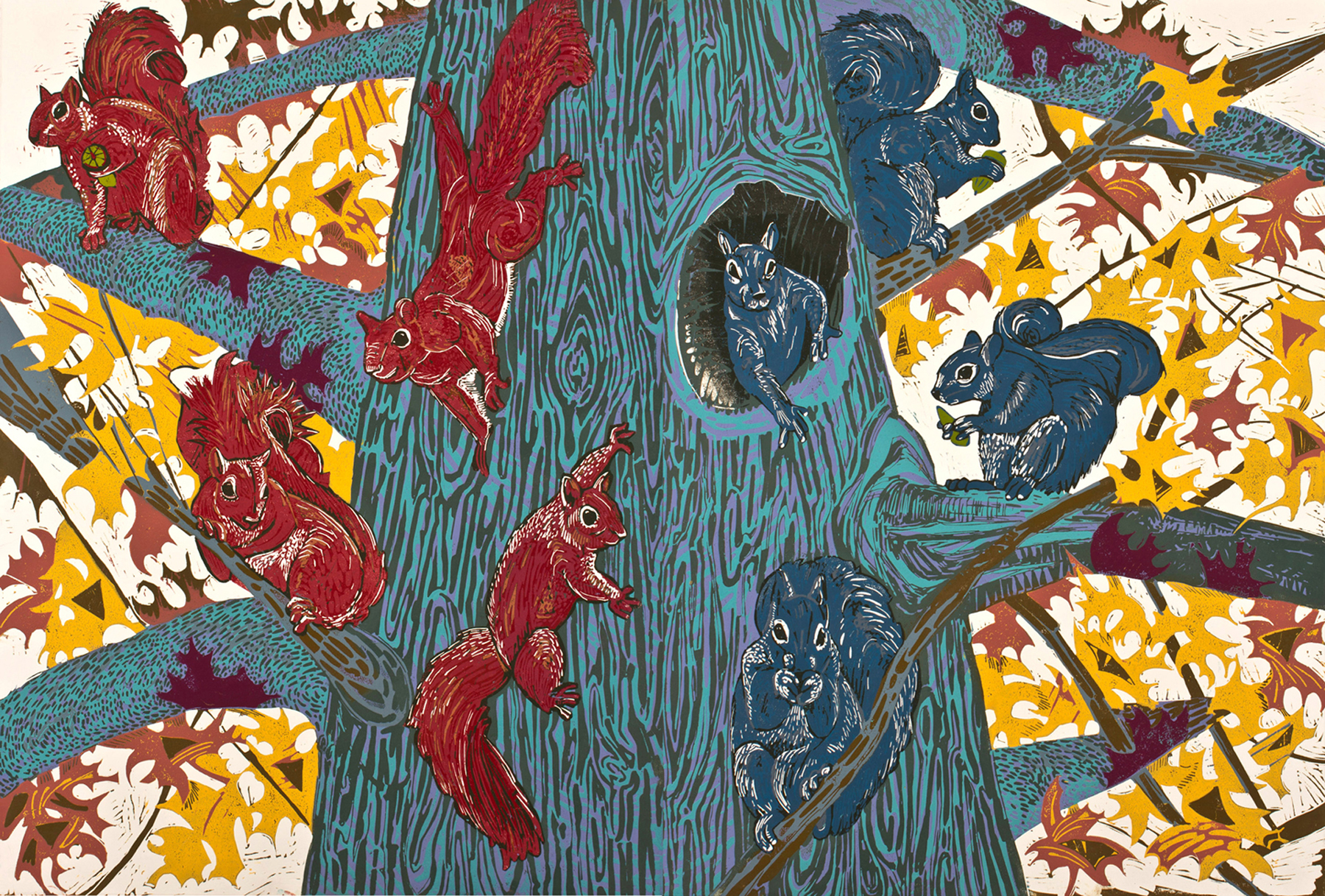 "Red Squirrels, Blue Squirrels , reduction linoleum print on paper (diptych), 32"" x 45"", sold out"