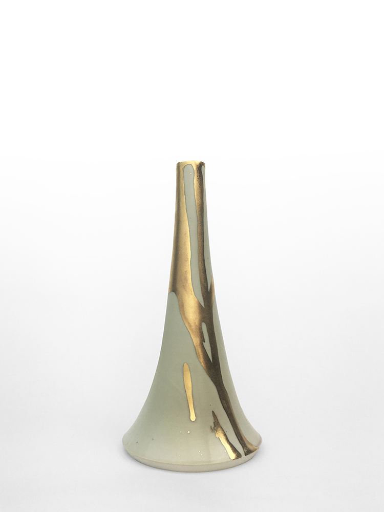 "Volcano Vase (Flow), wheel-thrown glazed porcelain with gold luster design, 9 1/4"" x 4 1/2"" x 4 1/2"""