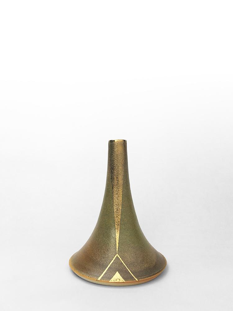"""Volcano Vase (Desert Gold Beam), wheel-thrown glazed porcelain with gold luster design, 6"""" x 4 1/2"""" x 4 1/2"""""""