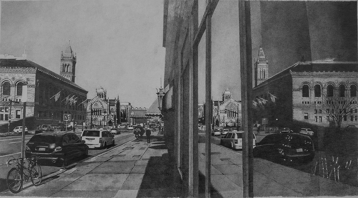 "Reflections of Copley Square , graphite on paper, 22"" x 34"" framed"