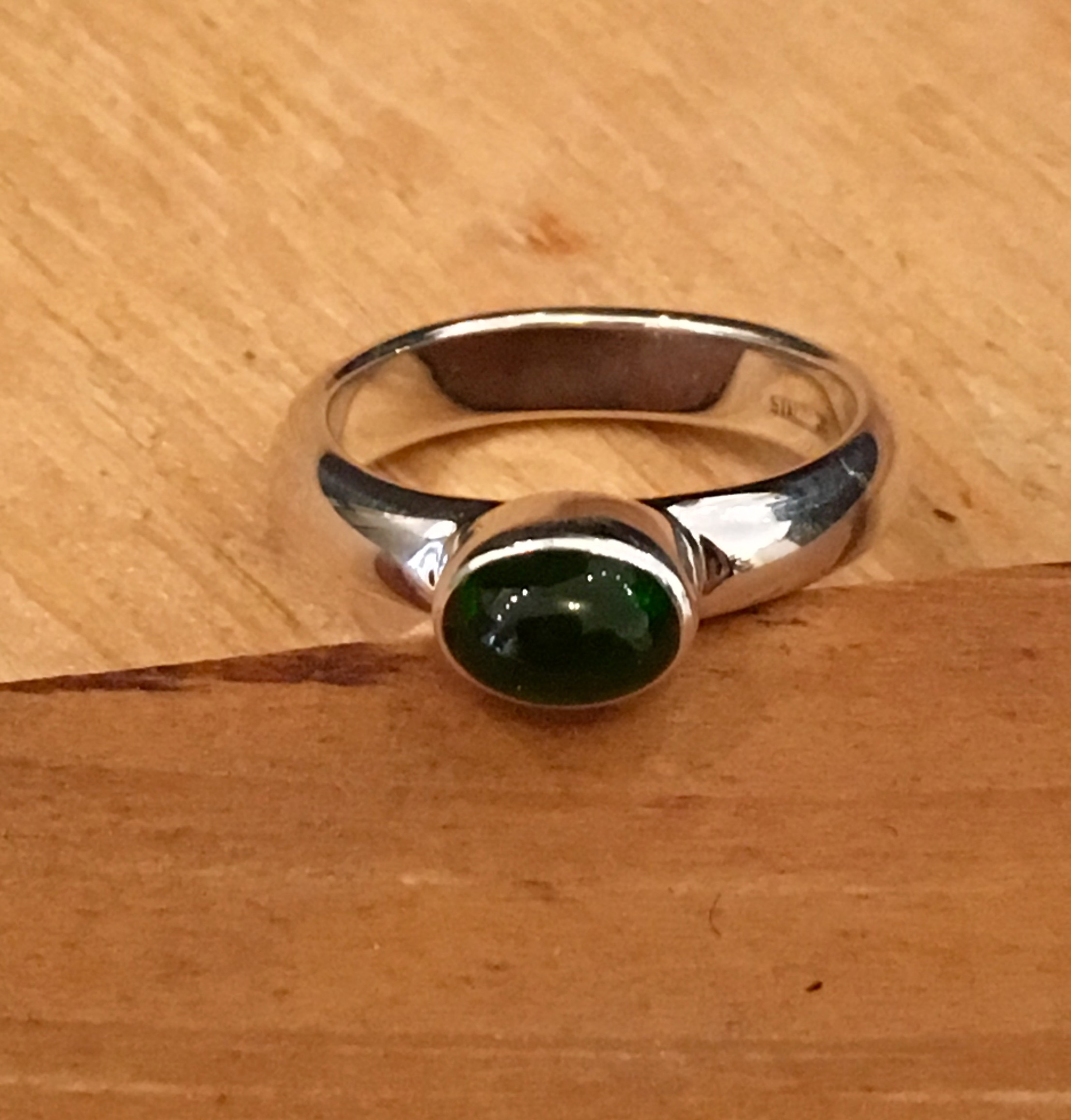 Chrome Diopside Ring , chrome diopside set in sterling silver, size 5, $70