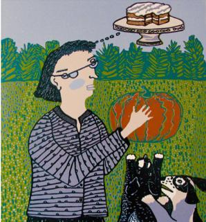 "Pumpkin Cake (9/17) , reduction linoleum print on paper, 29"" x 22 1/2"", $400"