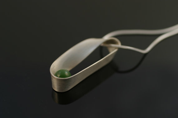 Mobius  necklace, sterling silver and jade, $110