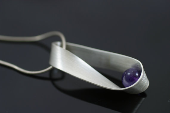 Mobius  necklace, sterling silver and amethyst, $110