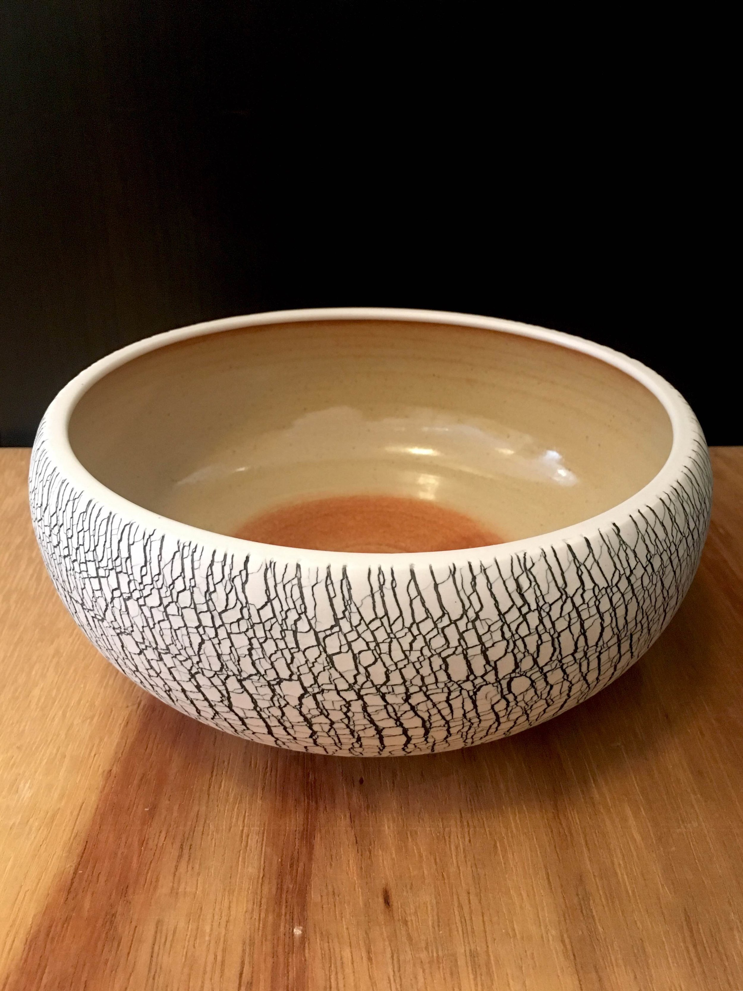 "Large porcelain serving bowl,   3 1/2"" x 9"" diameter, sold"