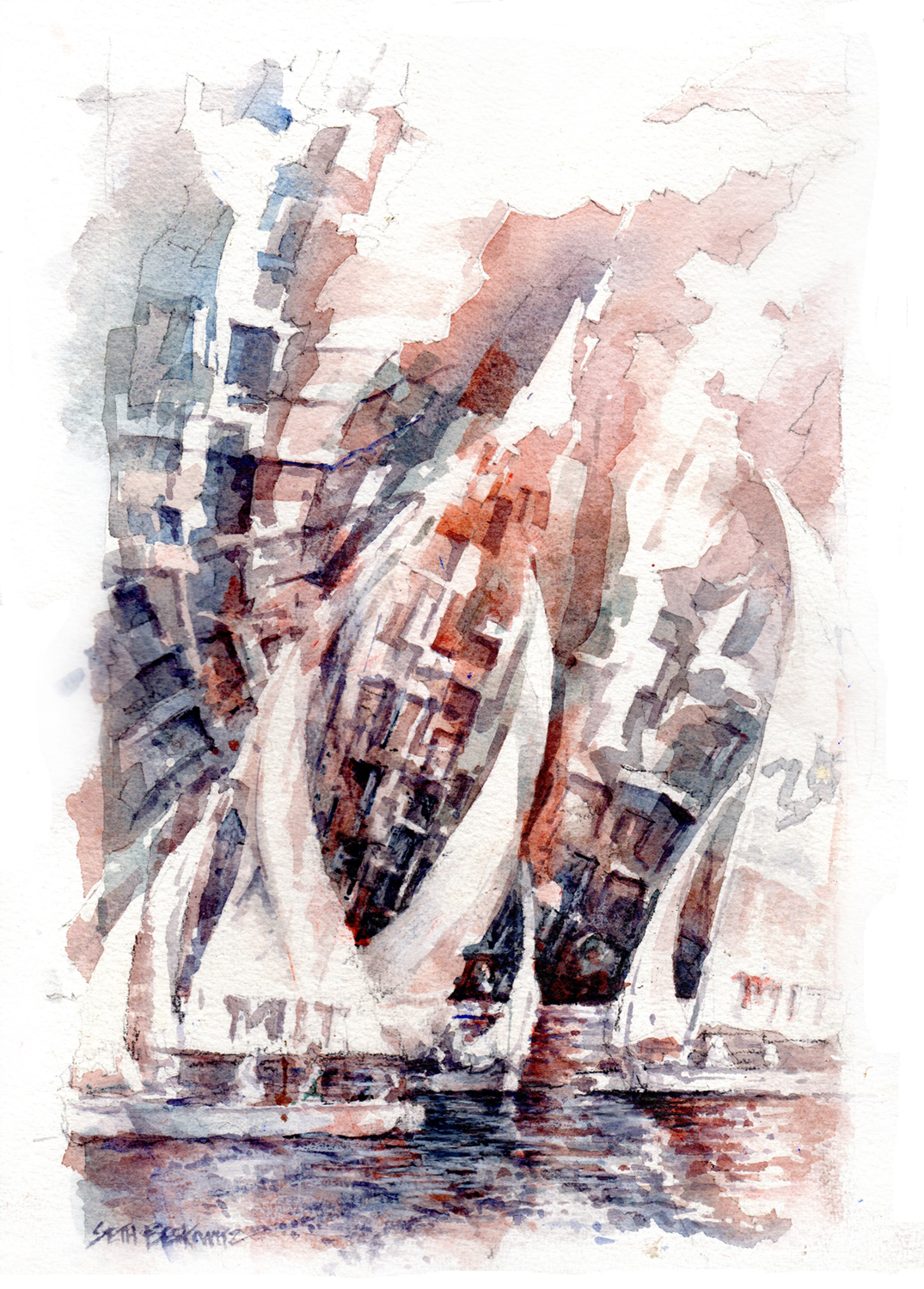 "Seth Berkowitz,  Shifting Sails , watercolor, graphite on paper, 20 1/2"" x 16 1/2"" framed, $525"