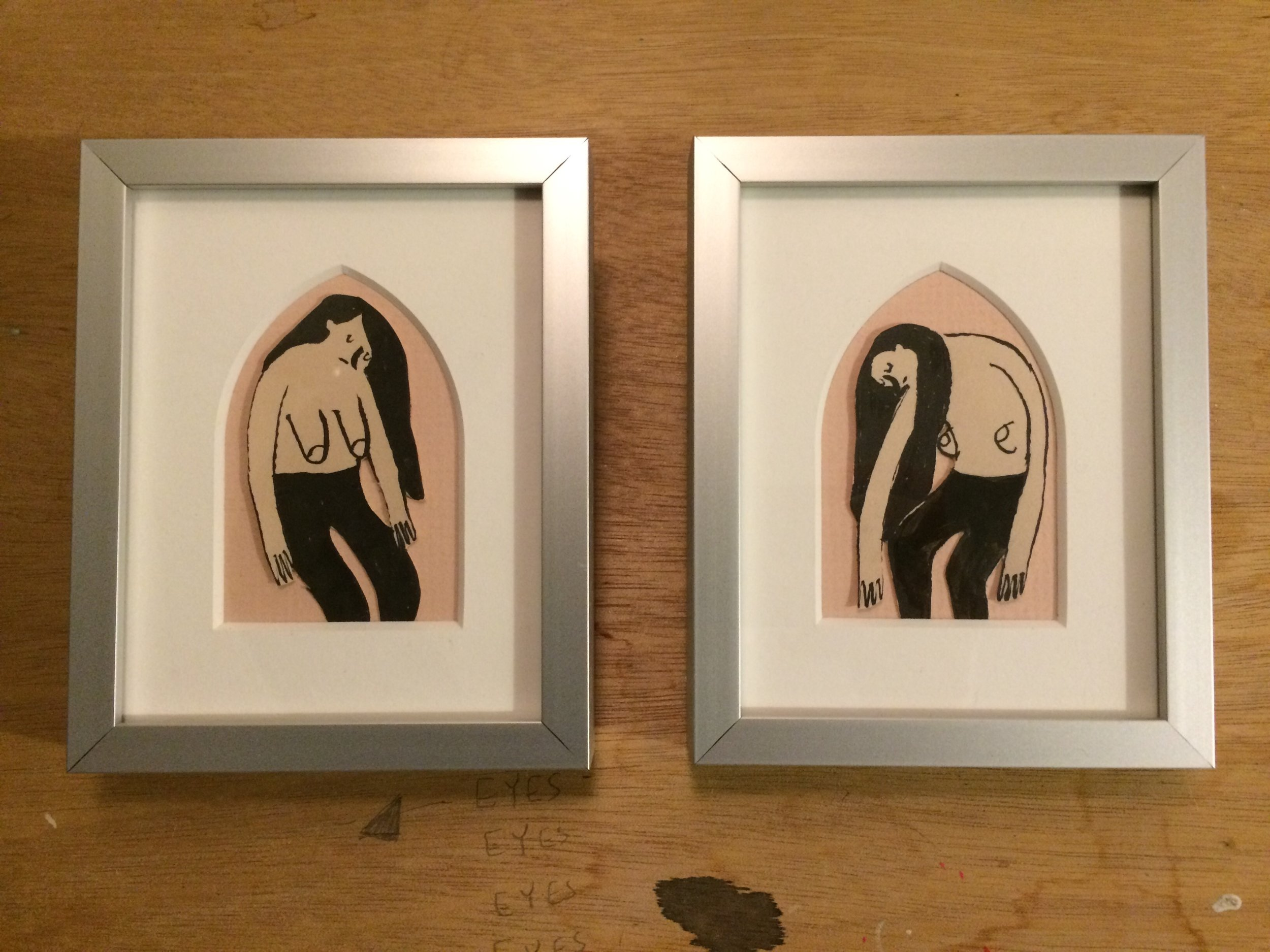 "Caitlin Duennebier,  Sister Haunt #1 and #2 , ink on paper, 5 1/4"" x 4 1/4"" framed each, sold"