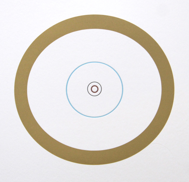 "Ted Ollier ,  Nested Planets (4/27) , letterpress on paper, 15"" x 15"" framed, $275, also available unframed"