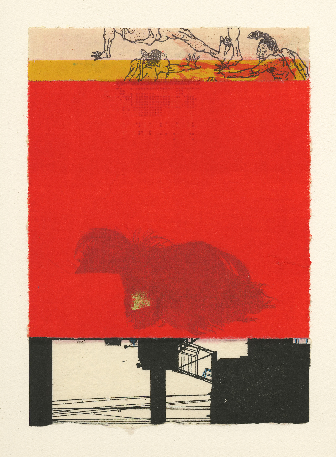 "Nina Wishnok ,  Where Is What #8 , monotype collage, chine-collé on paper, 18"" x 16"" framed, $625"